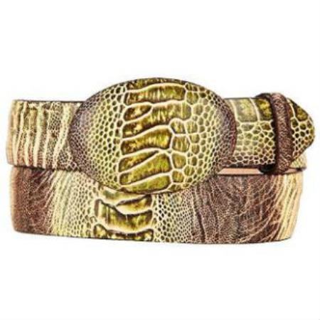 Ostrich leg skin western style hand crafted belt rustic green