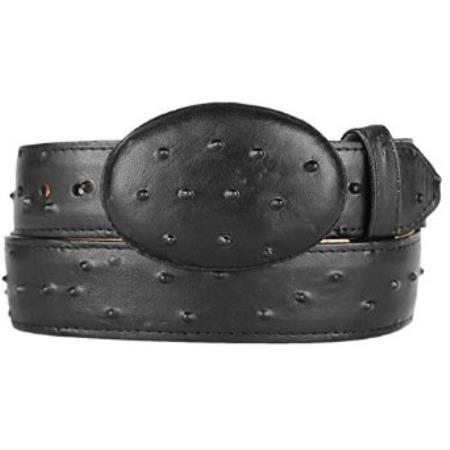 Ostrich print black western style belt