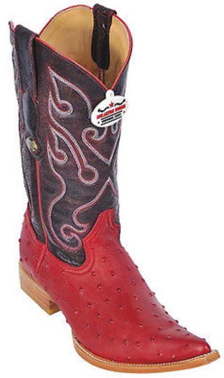Ostrich Print Riding Red Los Altos Mens Western Boots Cowboy Classics