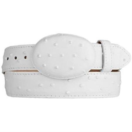 Ostrich print western style belt white