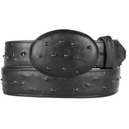 Ostrich print western style printed leather belt black