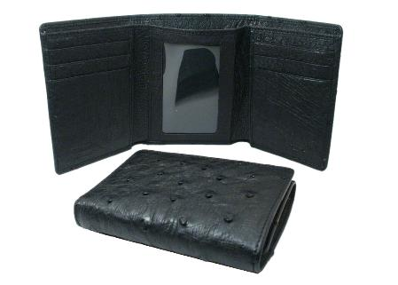 Ostrich Wallet Black Trifold 134
