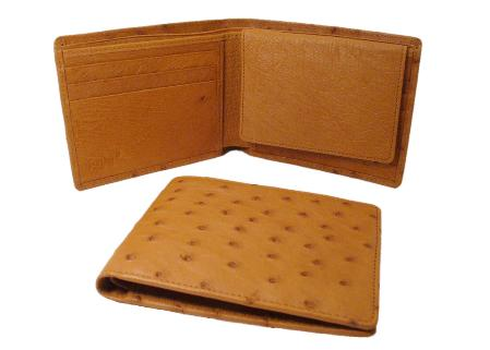 Ostrich Wallet Cognac ID Holder Bifold 134