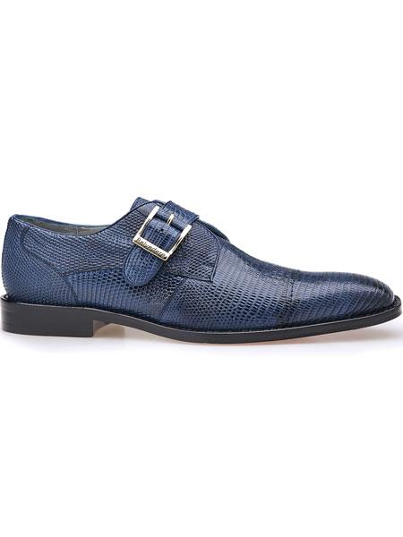 Otto Genuine Lizard Monk Single Buckle Strap Antique Navy Exotic Shoes