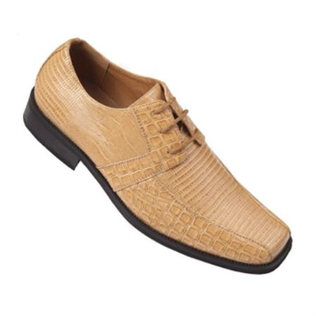Oxfords faux leather alligator embossed mens dress shoes tan
