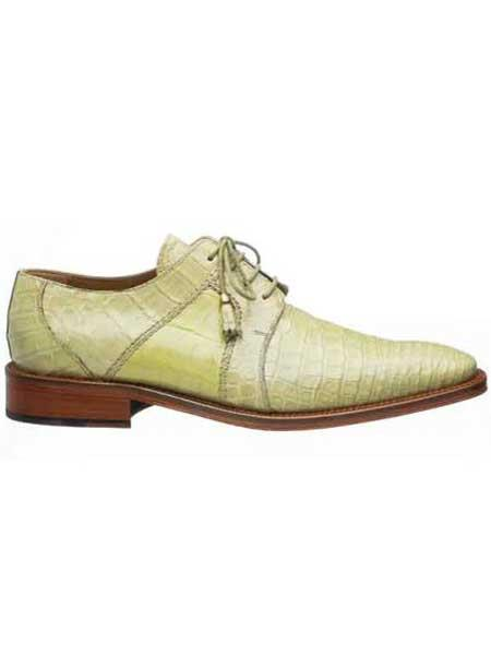 Peridot Cream Mens Full Leather Sole And Heel Alligator Shoes