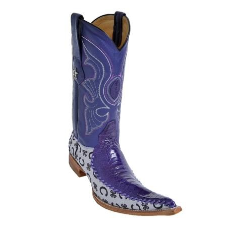 Purple 6X Toe Genuine Ostrich and Fabric