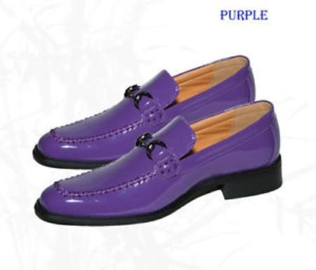 Purple Color Dress Shoes loafersslip On Loafer manmadepattern Leather