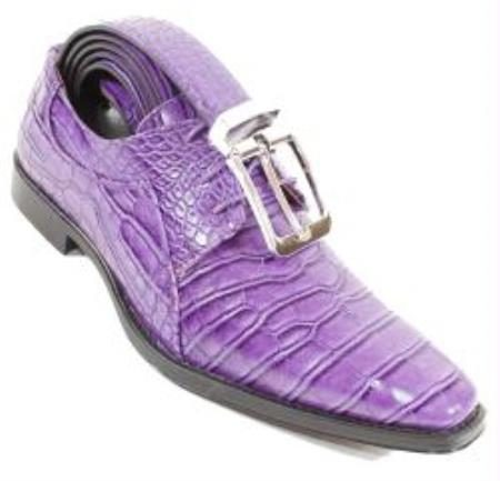 Purple Crocodile Alligator Exotic Print Skin lace Up Shoe