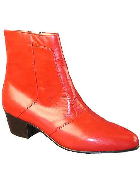 Red mens pointy toe genuine leather sole inside zipper dress boot