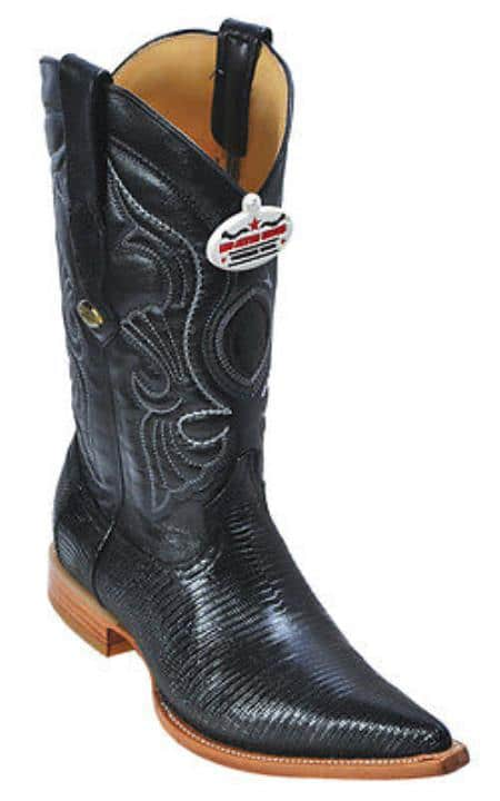 Ring Lizard Black Los Altos Mens Cowboy Boots Western Classics Riding Style