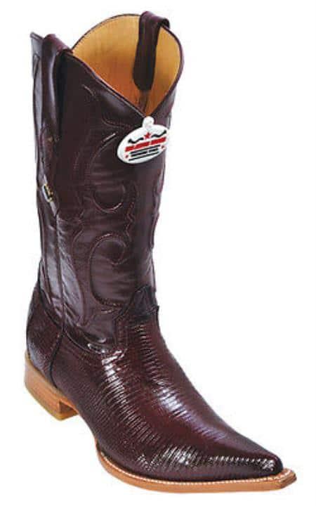 Ring Lizard Burgundy Los Altos Mens Cowboy Boots Western Rider Style
