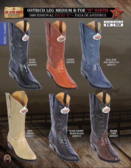 RToe Ostrich Leg D Width Mens Western Cowboy Boot Diff.Color/Size