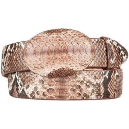 Rustic brown original python skin western style hand crafted belt
