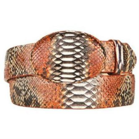 Rustic cognac original python skin western style hand crafted belt
