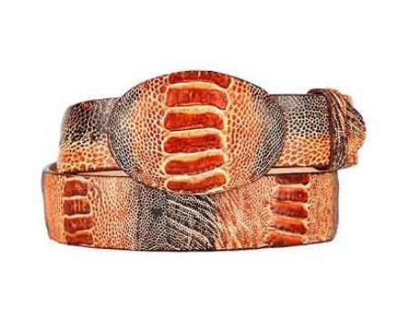 Rustic original ostrich leg skin western style belt cognac