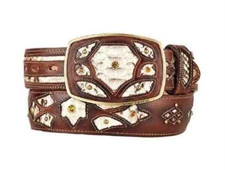 Rustic original python skin brown fashion western belt