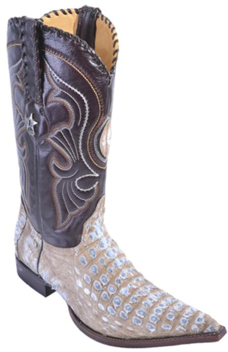 Smooth Caiman Rustic Mink Beige Vintage Los Altos Mens Cowboy Boots Western