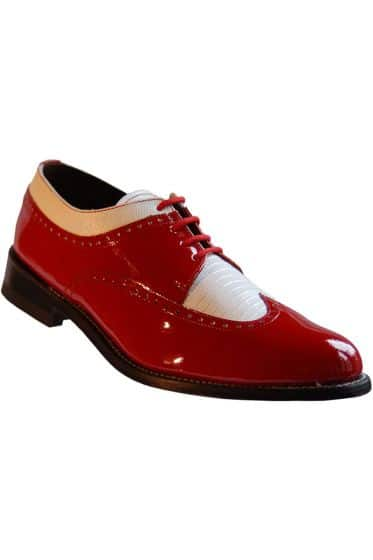 Red & White Stacy Baldwin Tuxedo Shoes