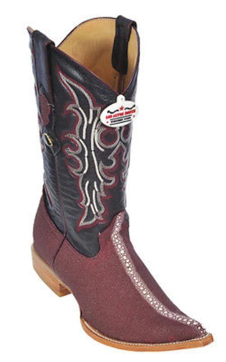 Stingray Rowstone Print Los Altos Burgundy Mens WESTERN Cowboy Boots 3X Toe 205