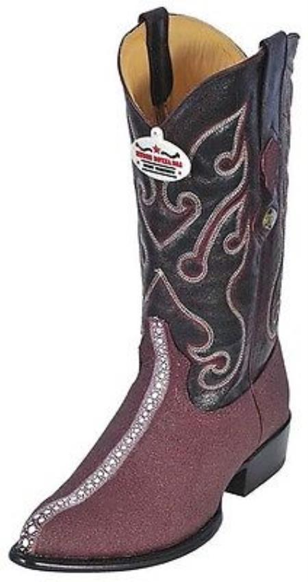 Stingray Rowstone Print Los Altos Burgundy Mens WESTERN Cowboy Boots JToe 205