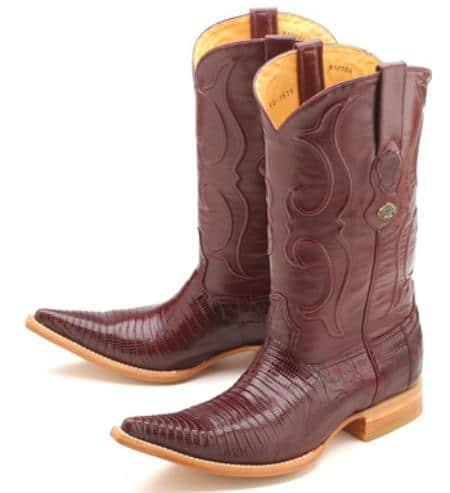 Teju Lizard Burgundy Los Altos Mens Cowboy Boots Western Rider Style