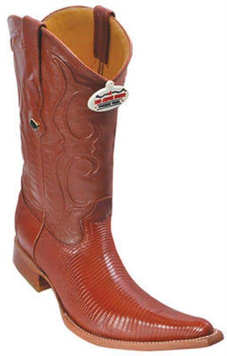 Teju Lizard Leather Cognac Brown Los Altos Men Cowboy Boots Western Rider Style