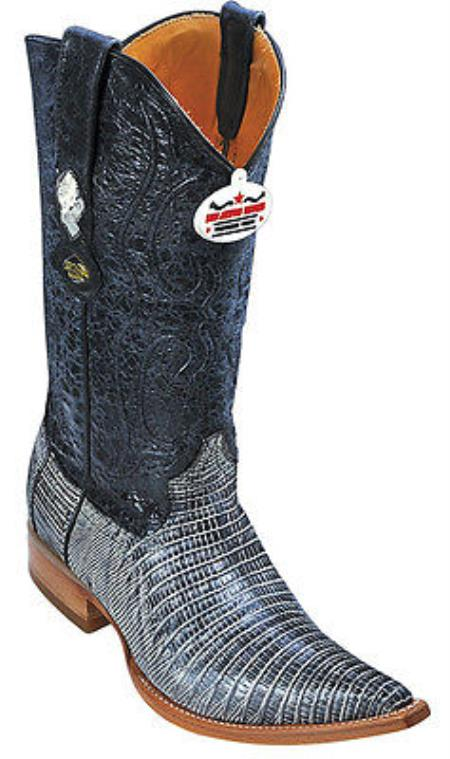 Teju Lizard Leather Rustic Black Los Altos Men Cowboy Boots Western Rider Style