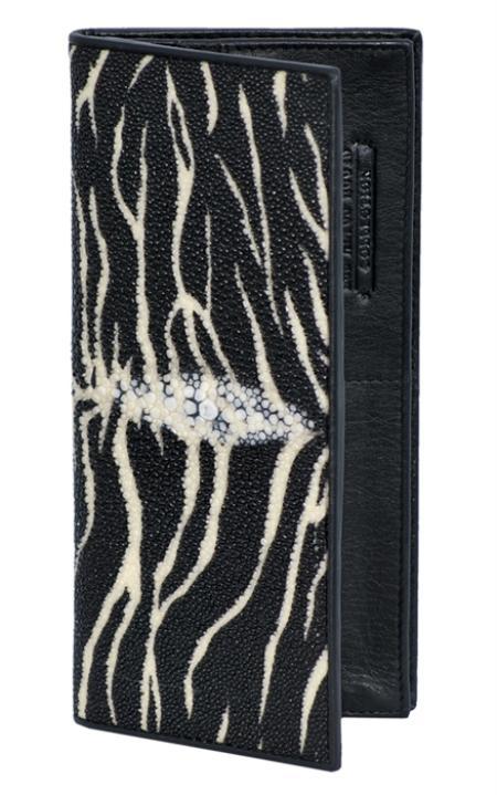 Tiger Black Genuine Stingray Single Stone Check Book Holder Wallet