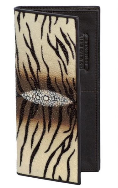Tiger White Brown Stingray Single Stone Check Book Holder Wallet
