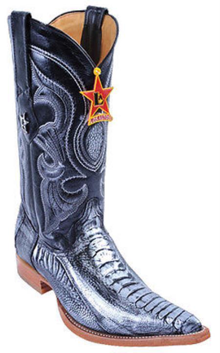 Vintage Classics Ostrich Leg Silver Los Altos Mens Western Cowboy Boots Rider