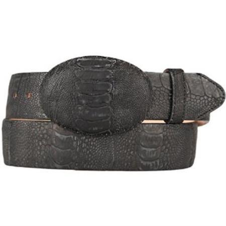 Western style belt black original ostrich leg skin