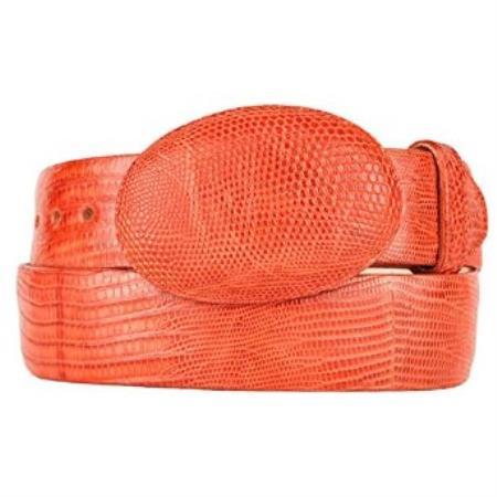 Western style belt cognac original lizard teju skin