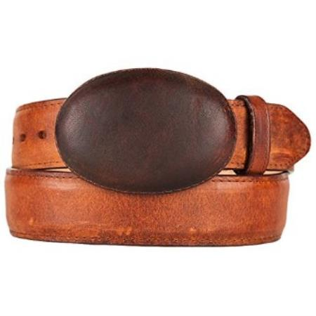 Western style belt honey original leather