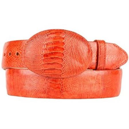 Western style belt original ostrich leg skin cognac