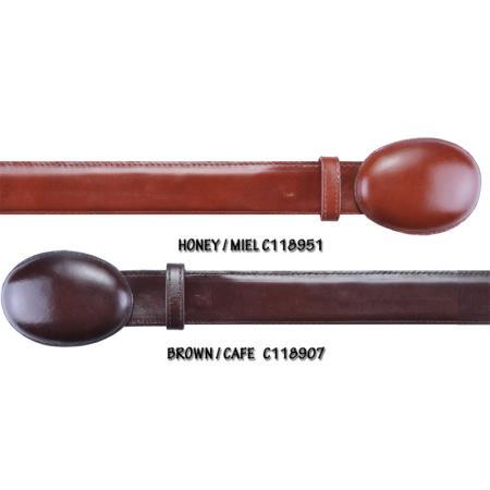Western Style Cowhide Belt Honey and Brown