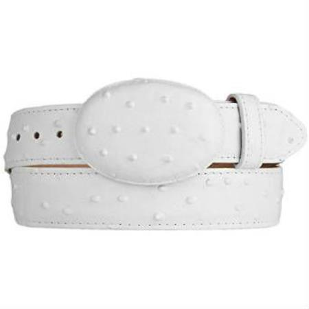 White ostrich print western style leather belt