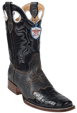 Wild West Black Caimen Belly Wild Rodeo Toe Boots 337