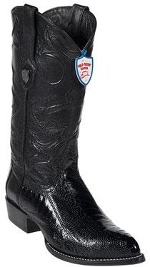 Wild West Black Ostrich Leg Cowboy Boots 317