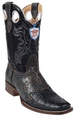 Wild West Black Ostrich Wild Rodeo Toe Boots 337
