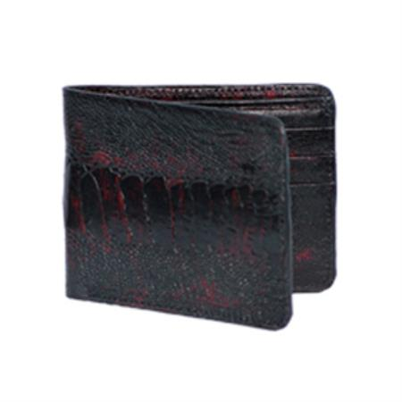 Wild West Boots Wallet Black Cherry Genuine Exotic Ostrich Leg 100