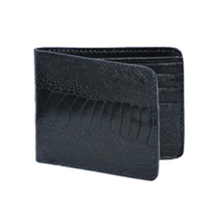 Wild West Boots Wallet Black Genuine Exotic Ostrich Leg 100