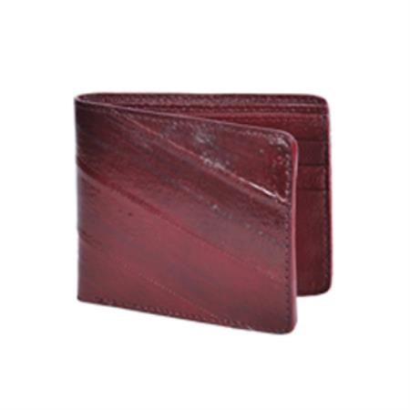 Wild West Boots Wallet Burgundy Genuine Exotic Eel Skin