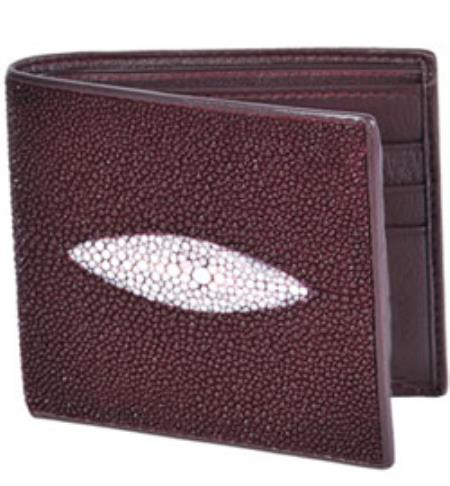 Wild West Boots Wallet Burgundy Genuine Exotic Stingray Single Stone