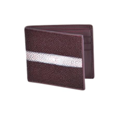 Wild West Boots Wallet Burgundy Genuine Exotic Stingray