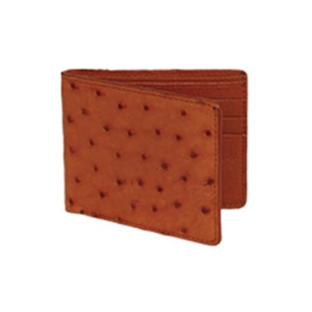 Wild West Boots Wallet Cognac Genuine Exotic Ostrich Leg