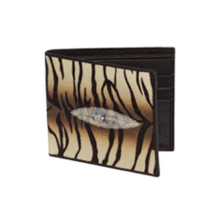 Wild West Boots Wallet Tiger Desing Genuine Exotic Stingray