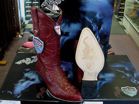 Wild West Burgundy Genuine Crocodile Western Cowboy Boot (D)