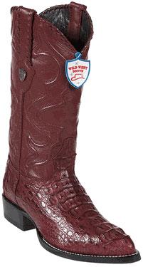 Wild West Burgundy JToe Caiman Hornback Cowboy Boots 457