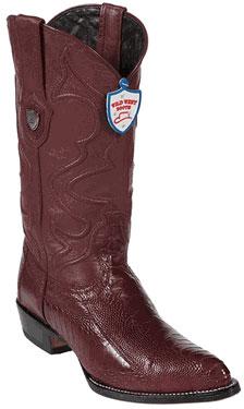 Wild West Burgundy Ostrich Leg Cowboy Boots 317